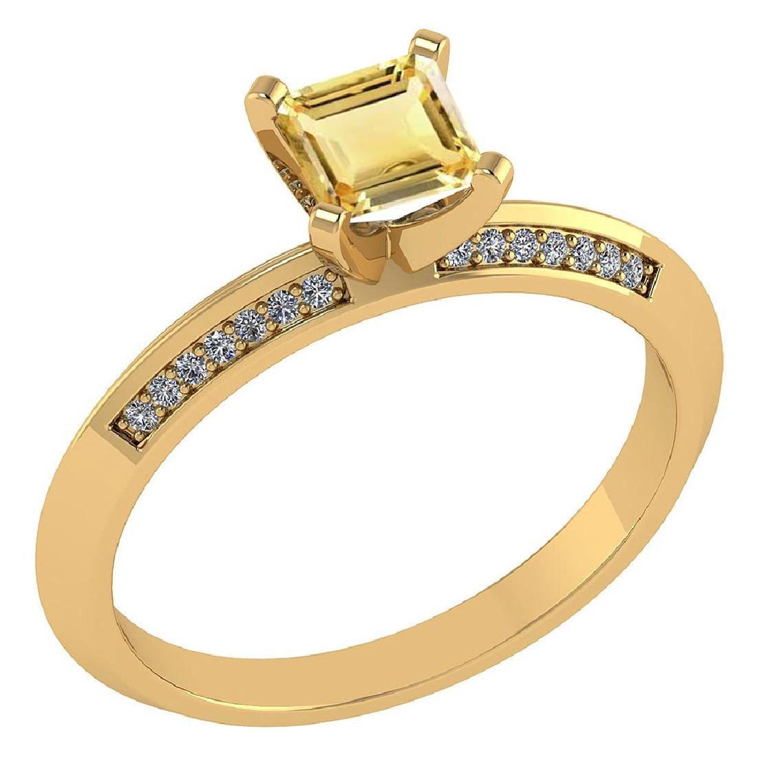 Certified .89 CTW Genuine Citrine And Diamond 14K Yello