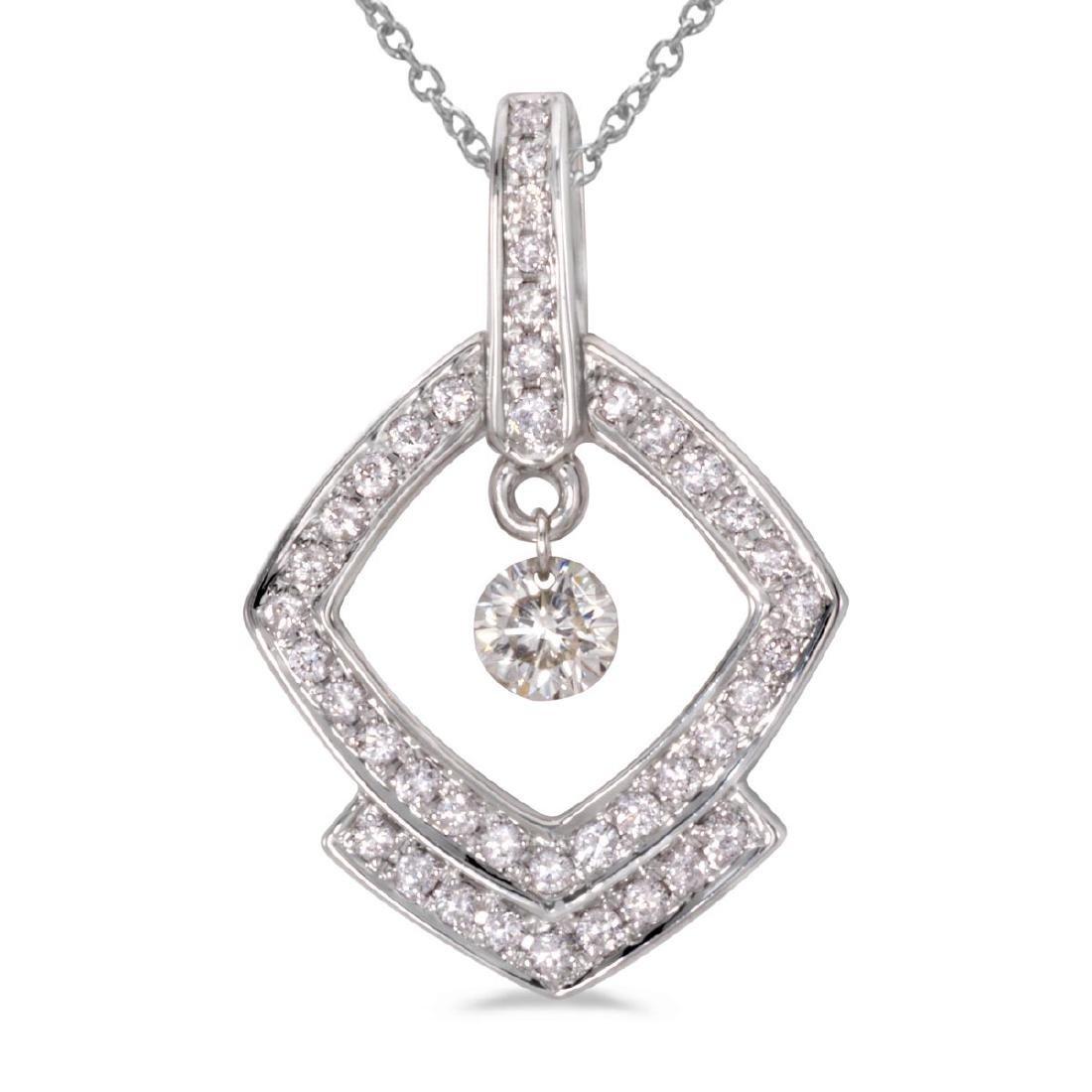 Certified 14K White Gold Dashing Diamonds Pendant 0.3 C
