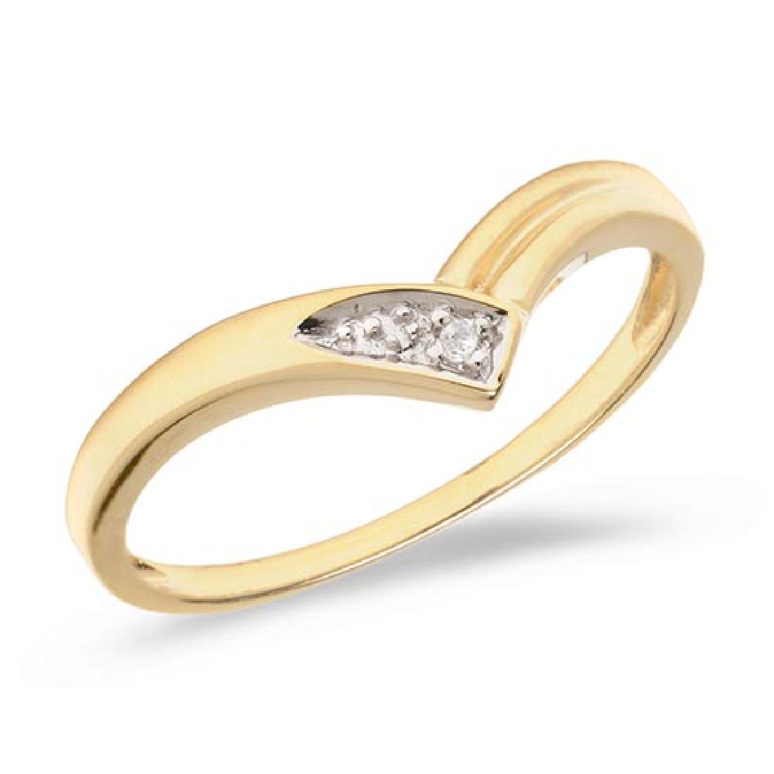 Certified 10K Yellow Gold Diamond Chevron Ring