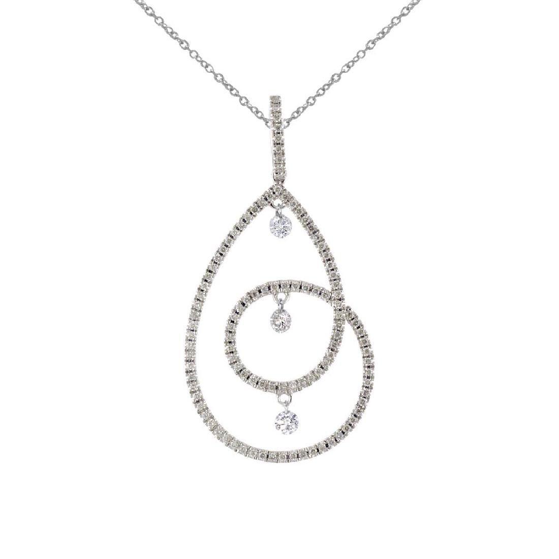 Certified 14K White Gold Dashing Diamonds Pendant 0.67