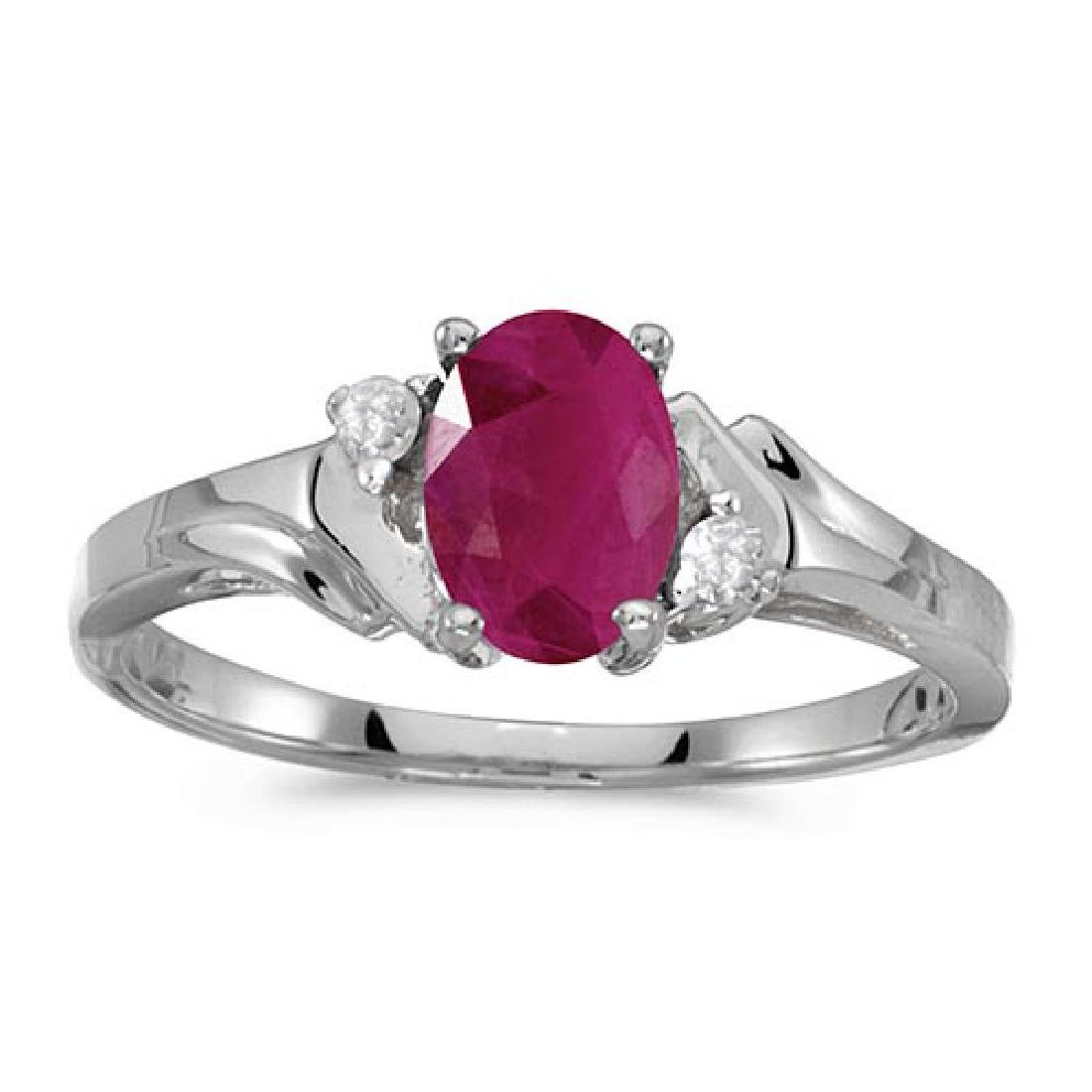 Certified 10k White Gold Oval Ruby And Diamond Ring