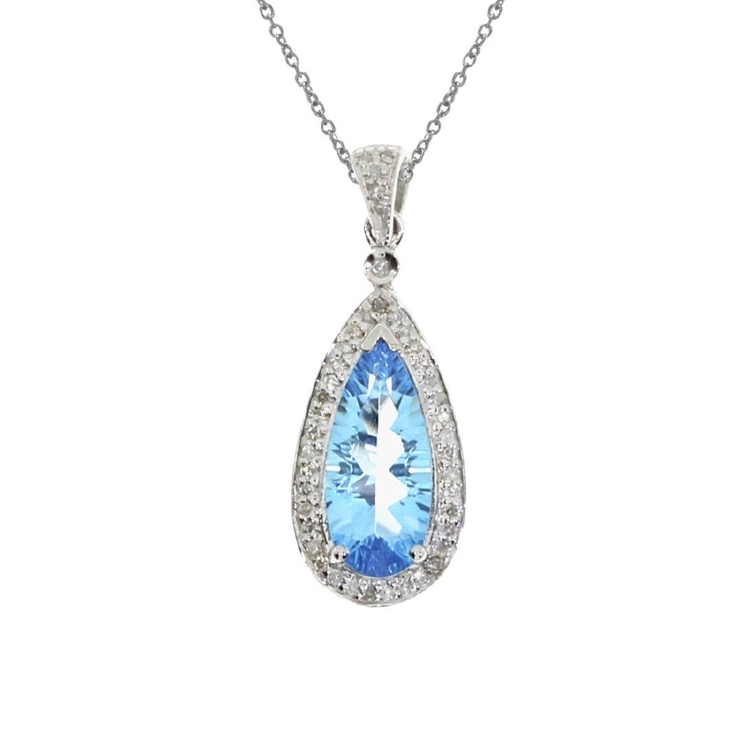 Certified 14k White Gold Blue Topaz Drop Pendant 2.73 C