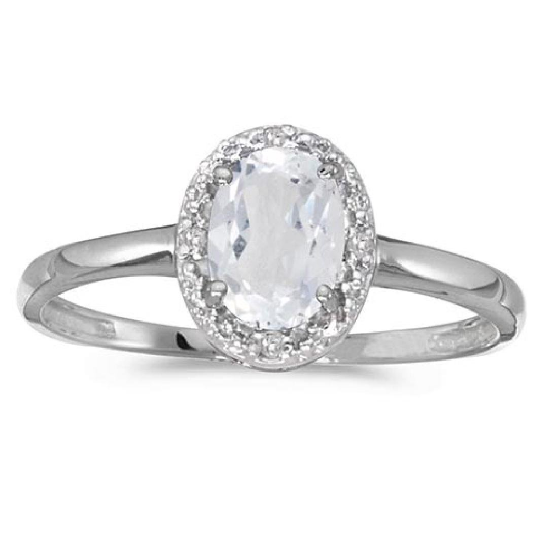 Certified 10k White Gold Oval White Topaz And Diamond R