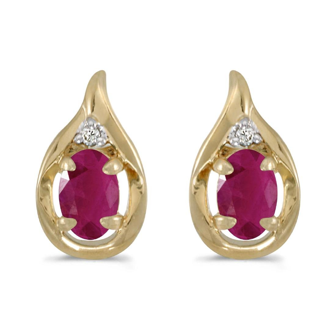 Certified 14k Yellow Gold Oval Ruby And Diamond Earring