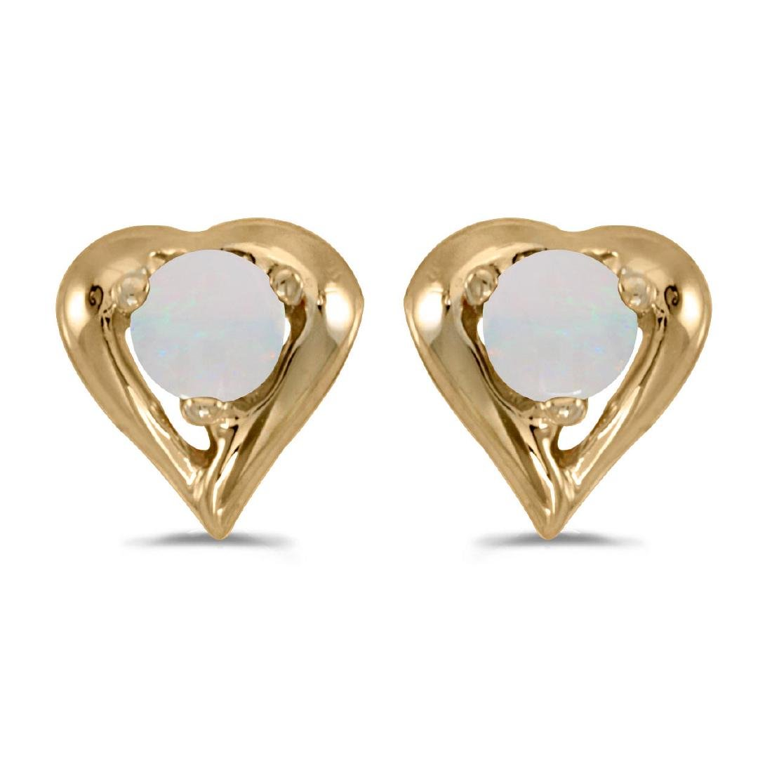 Certified 10k Yellow Gold Round Opal Heart Earrings 0.0
