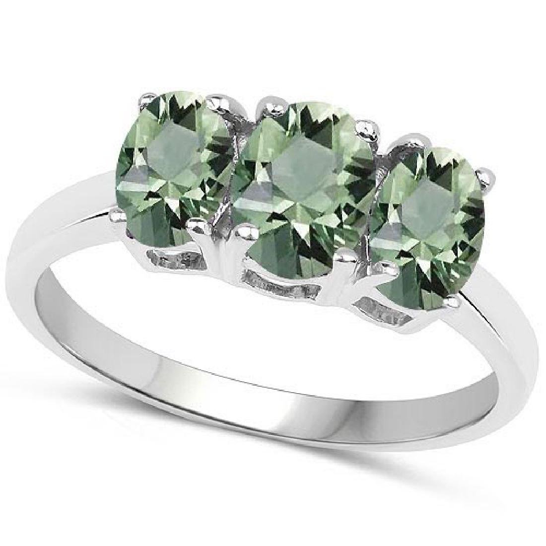Certified 4.70 CTW Genuine Green Amethyst And 14K White