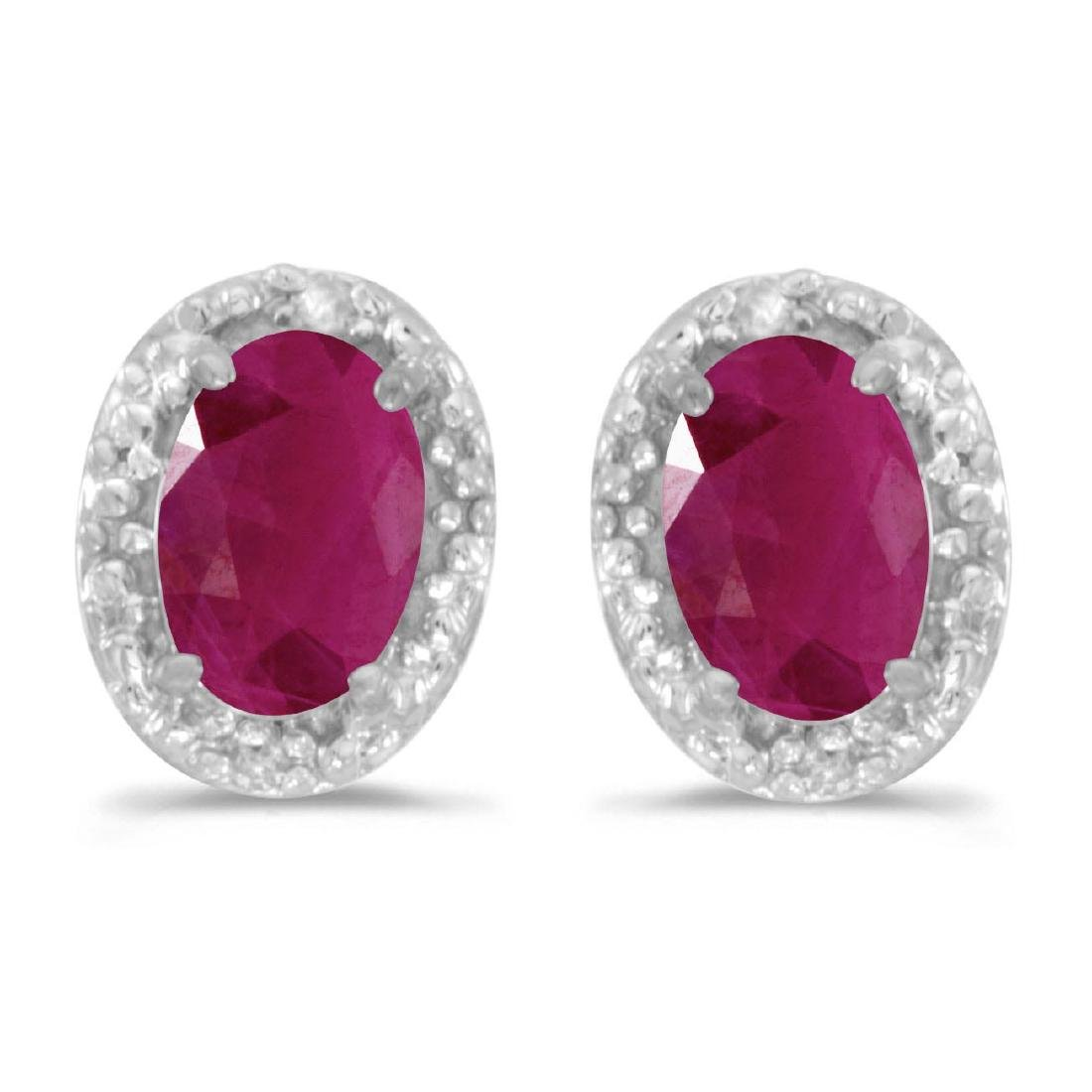 Certified 14k White Gold Oval Ruby And Diamond Earrings