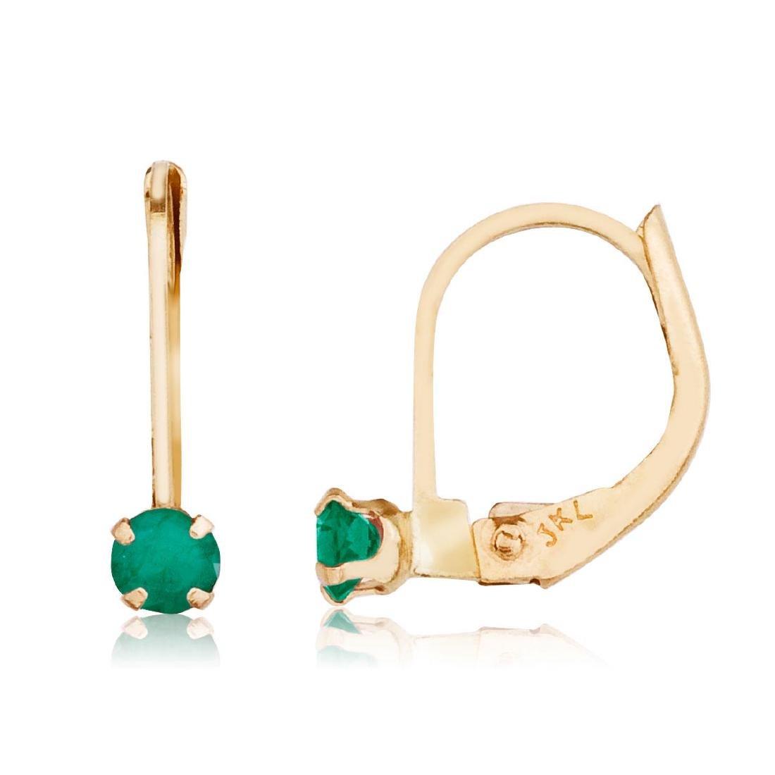 Certified 14k Petite Emerald Leverback Earrings 0.18 CT