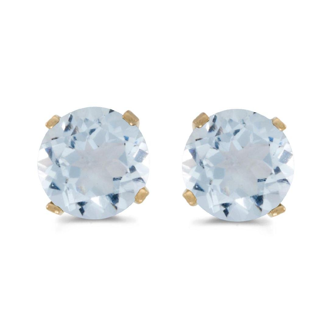 Certified 5 mm Natural Round Aquamarine Stud Earrings S