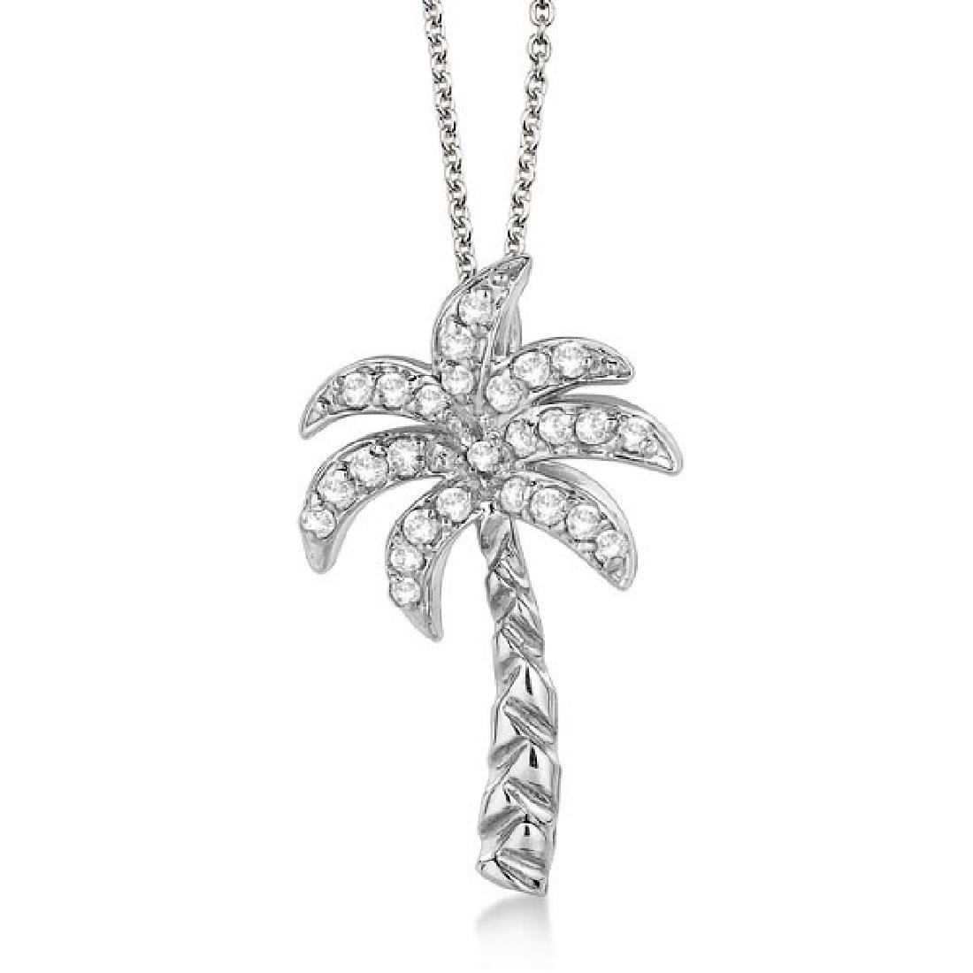 Palm Tree Shaped Diamond Pendant Necklace 14k White Gol