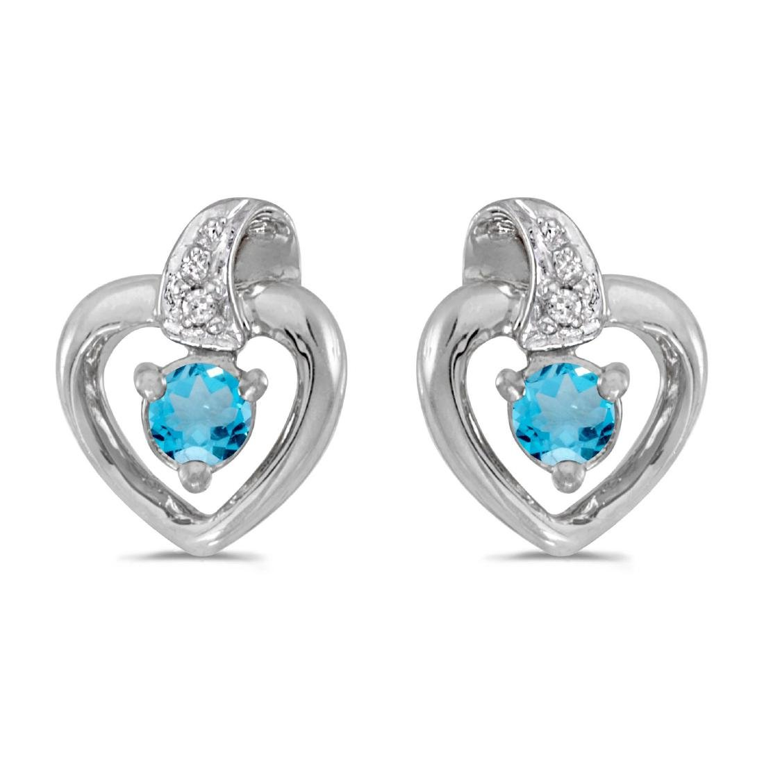 Certified 14k White Gold Round Blue Topaz And Diamond H