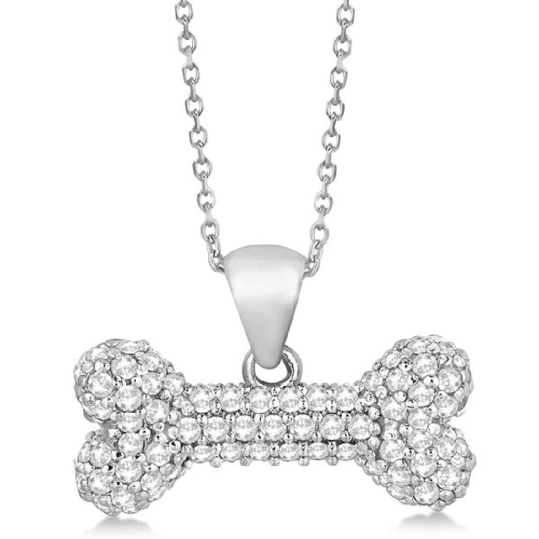 Pave Diamond Dog Bone Pendant Necklace 14K White Gold (