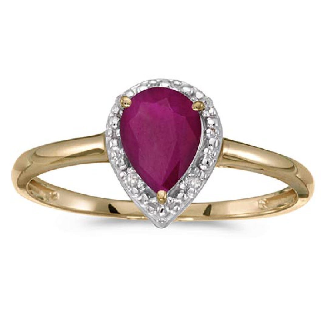 Certified 14k Yellow Gold Pear Ruby And Diamond Ring