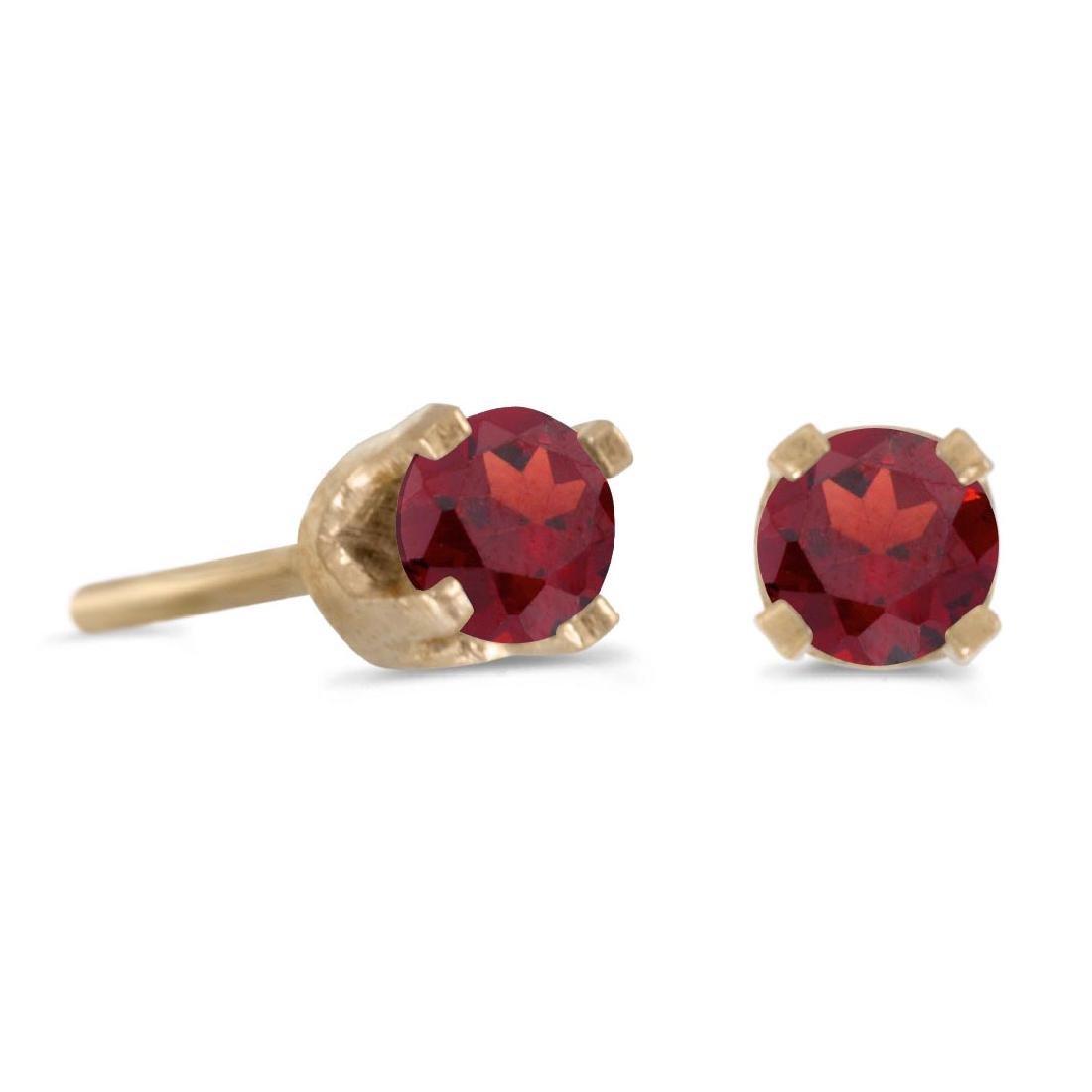 Certified 3 mm Petite Round Genuine Garnet Stud Earring