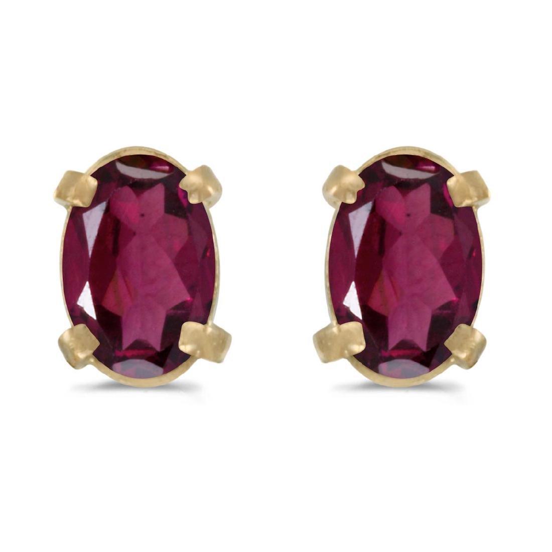 Certified 14k Yellow Gold Oval Rhodolite Garnet Earring