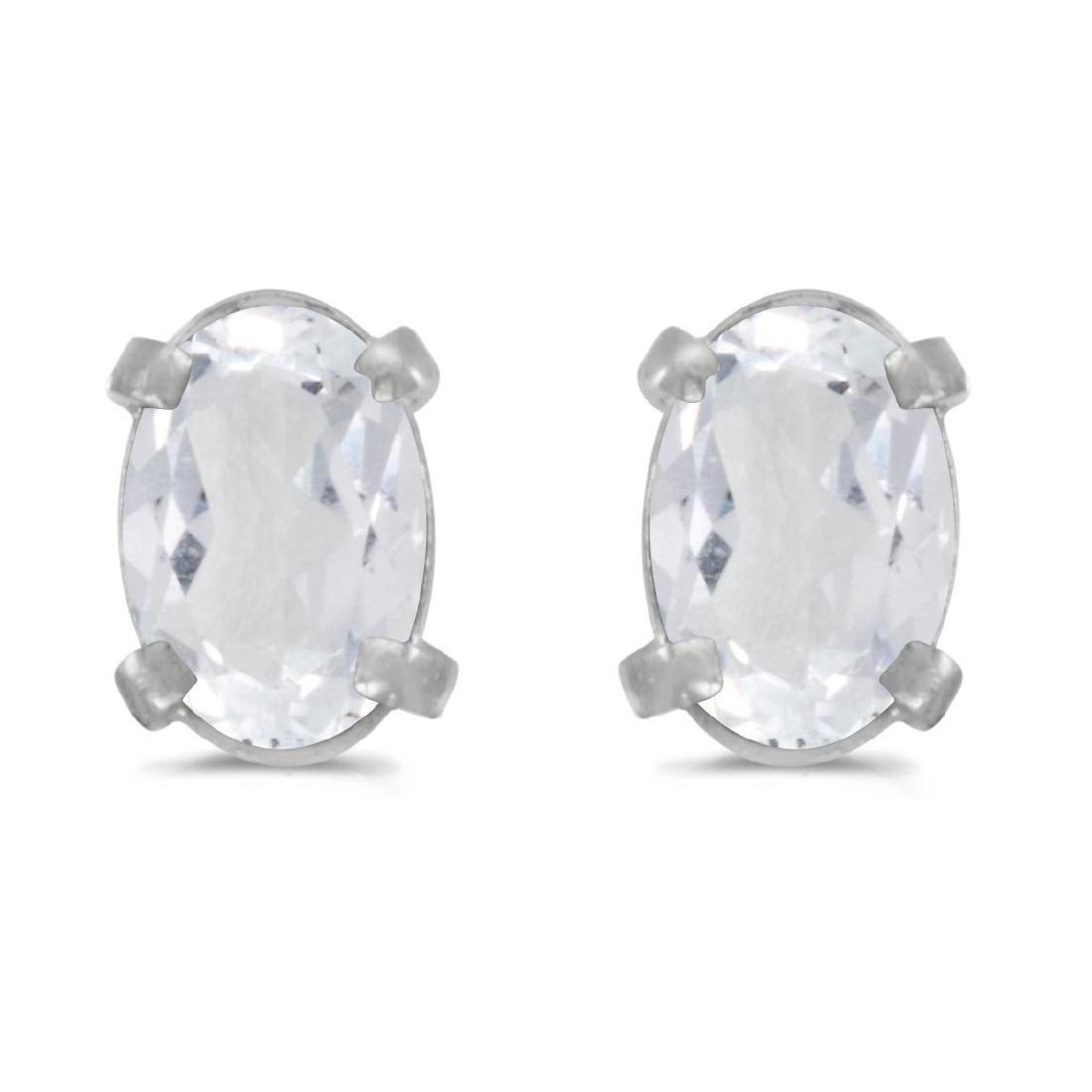 Certified 14k White Gold Oval White Topaz Earrings 0.96