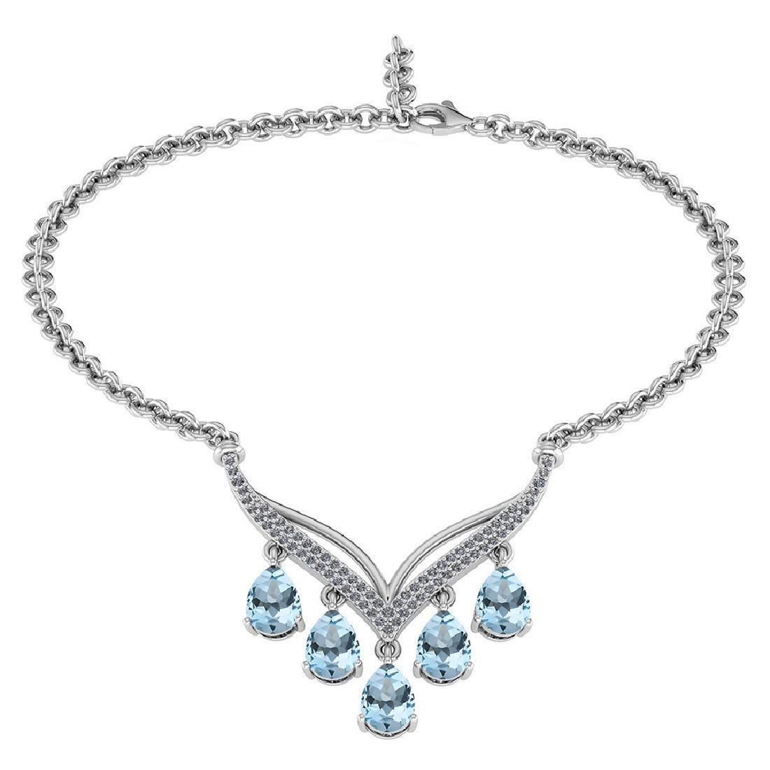 Certified 4.19 CTW Genuine Aquamarine And Diamond 14k W