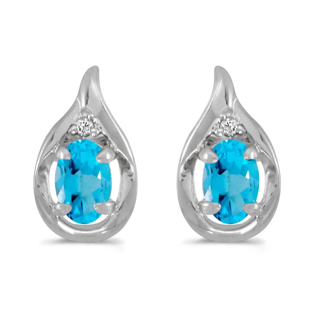 Certified 10k White Gold Oval Blue Topaz And Diamond Ea