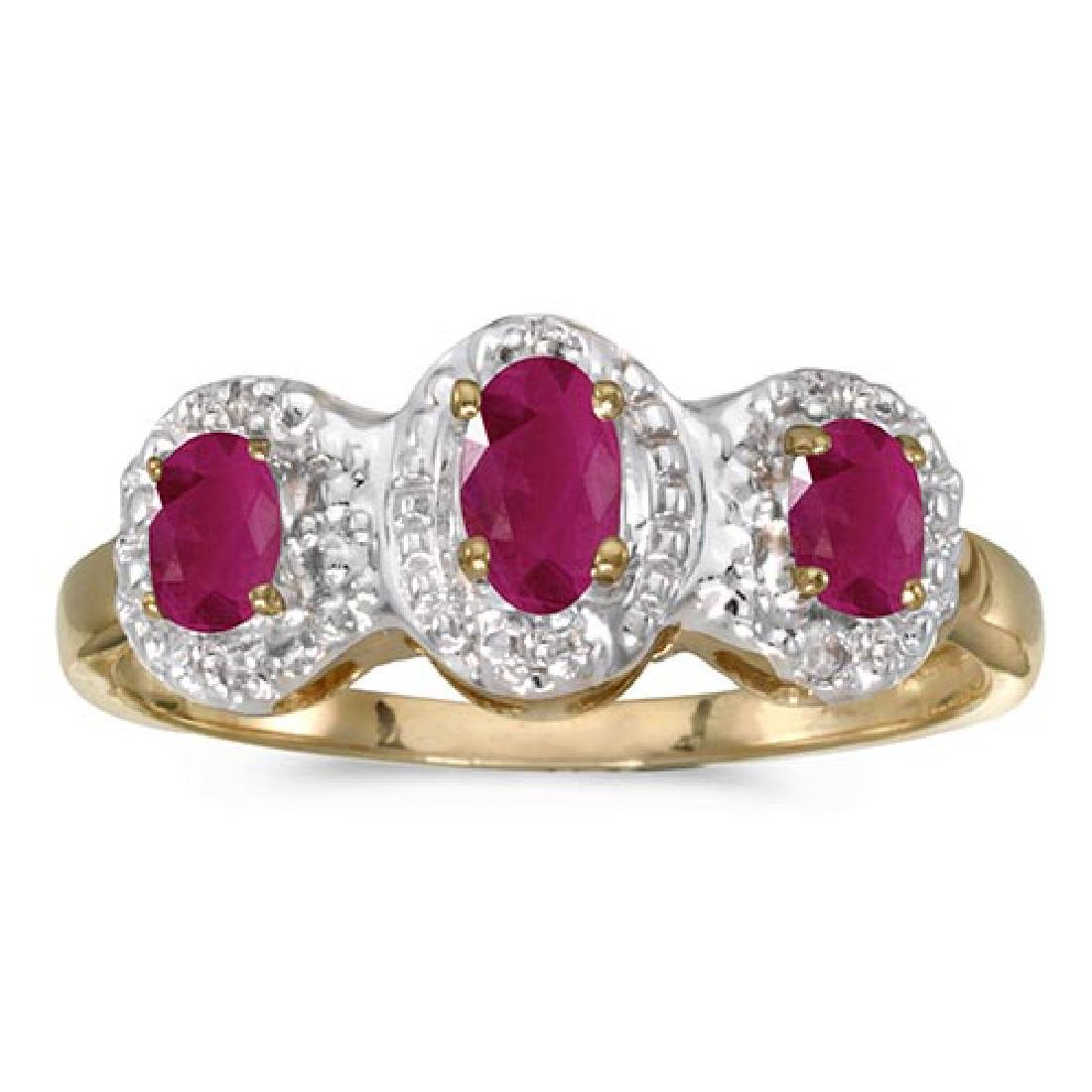 Certified 14k Yellow Gold Oval Ruby And Diamond Three S