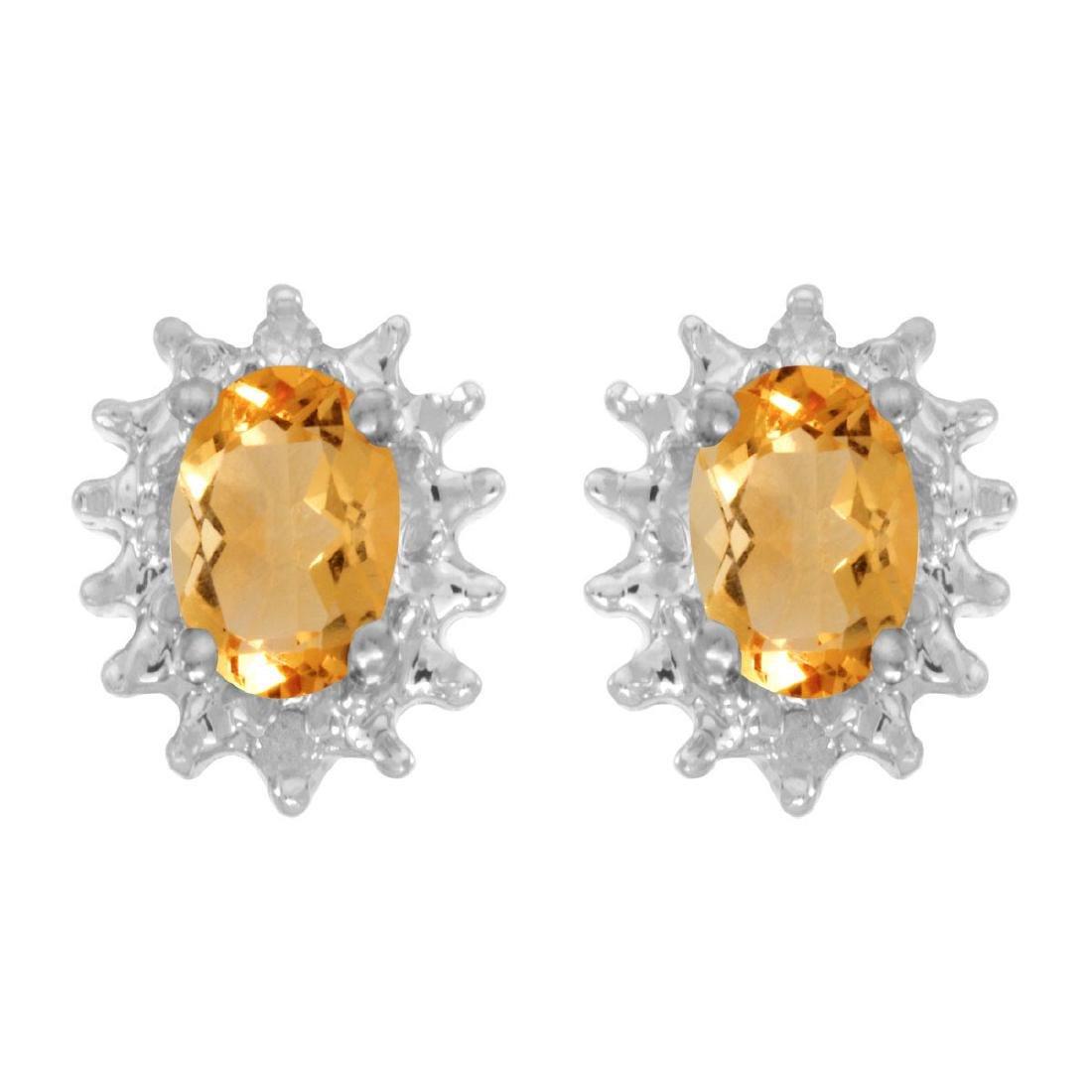 Certified 14k White Gold Oval Citrine And Diamond Earri