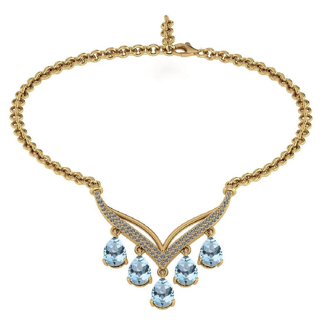 Certified 4.19 CTW Genuine Aquamarine And Diamond 14k Y