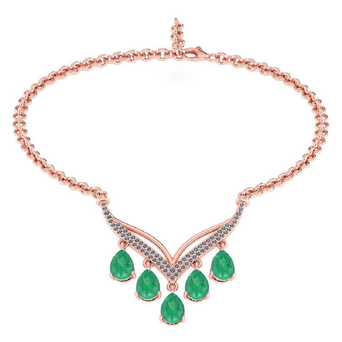Certified 4.19 CTW Genuine Emerald And Diamond 14k Rose