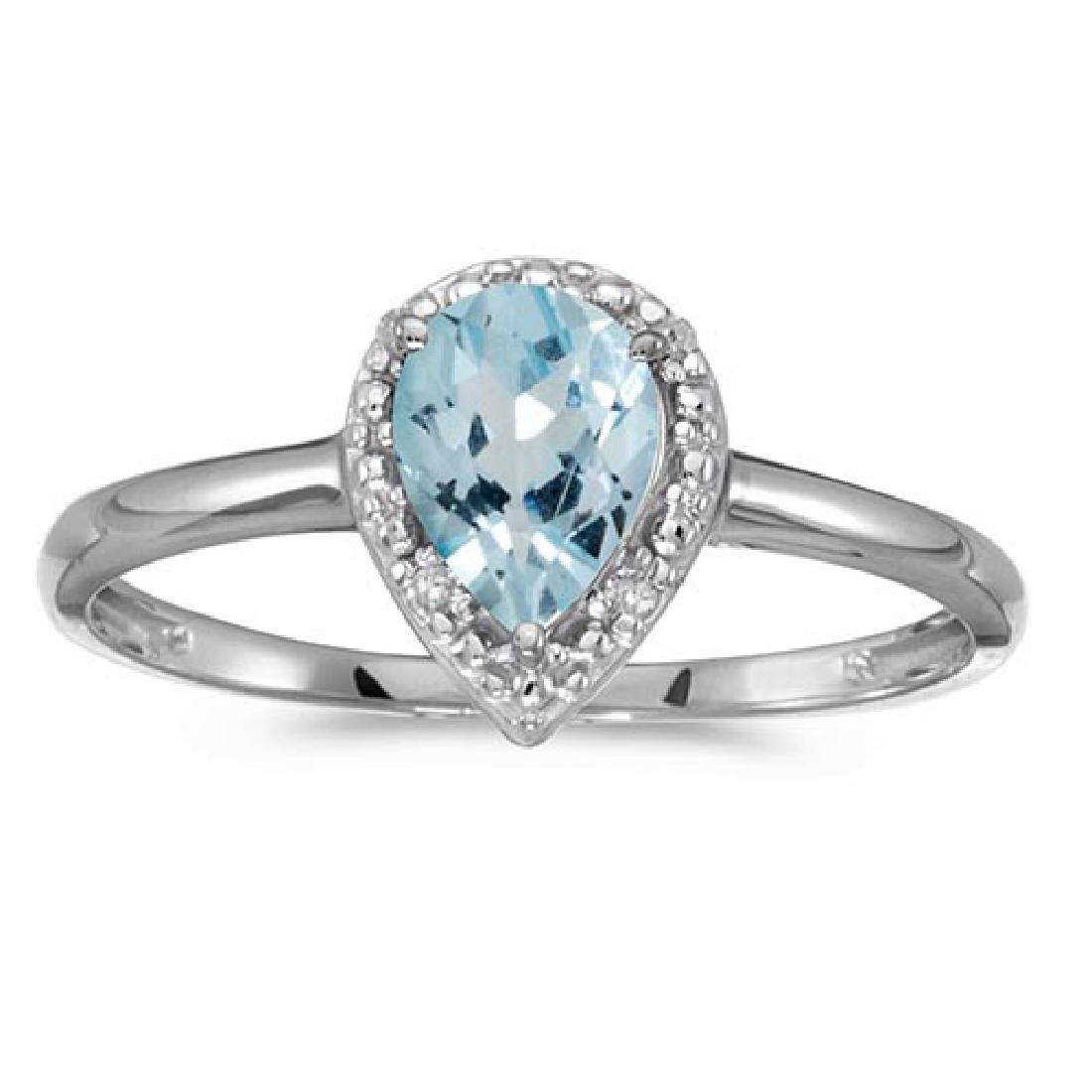 Certified 14k White Gold Pear Aquamarine And Diamond Ri