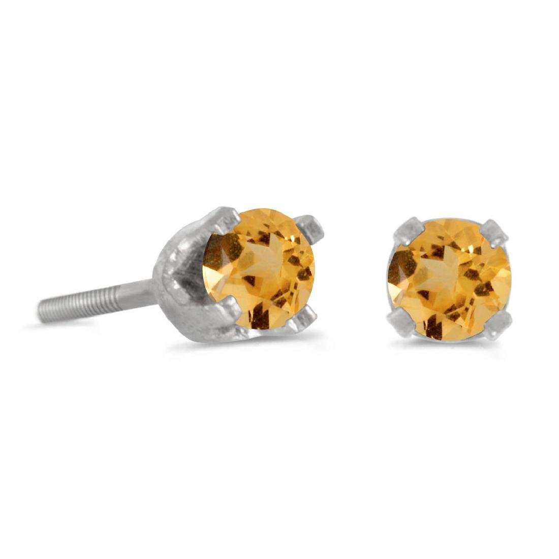 Certified 3 mm Petite Round Natural Citrine Screw-back