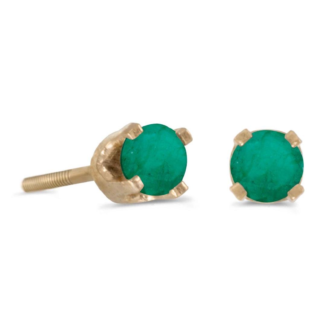 Certified 3 mm Petite Round Emerald Screw-back Stud Ear
