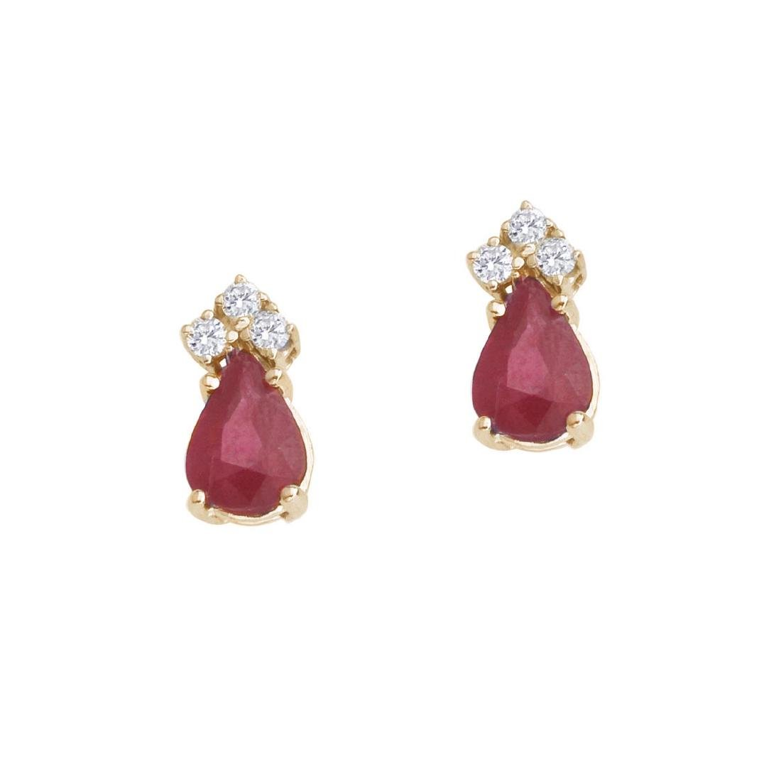 Certified 14k Yellow Gold Ruby And Diamond Pear Shaped