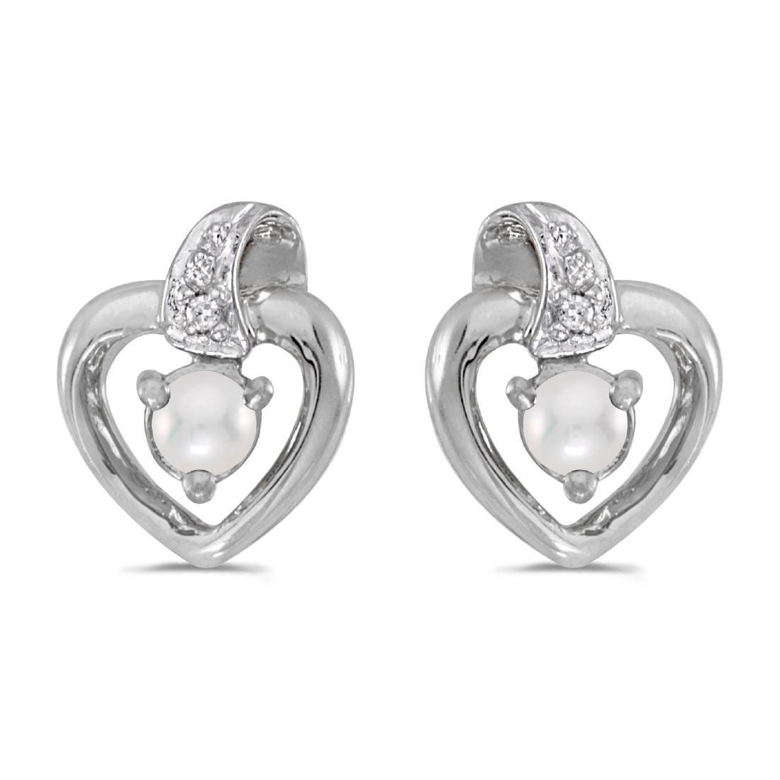 Certified 14k White Gold Pearl And Diamond Heart Earrin