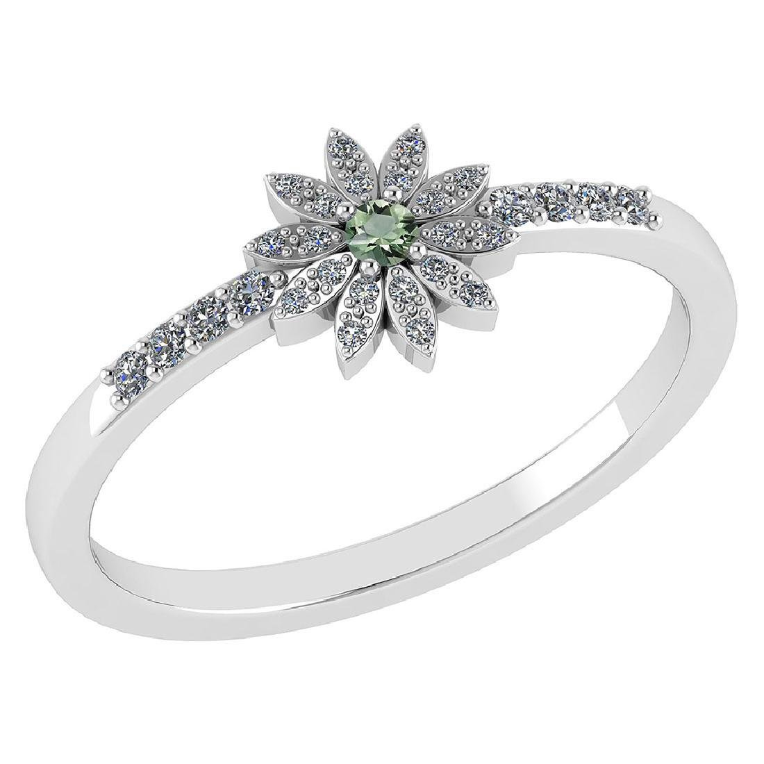 Certified .16 CTW Genuine Green Amethyst And Diamond 14