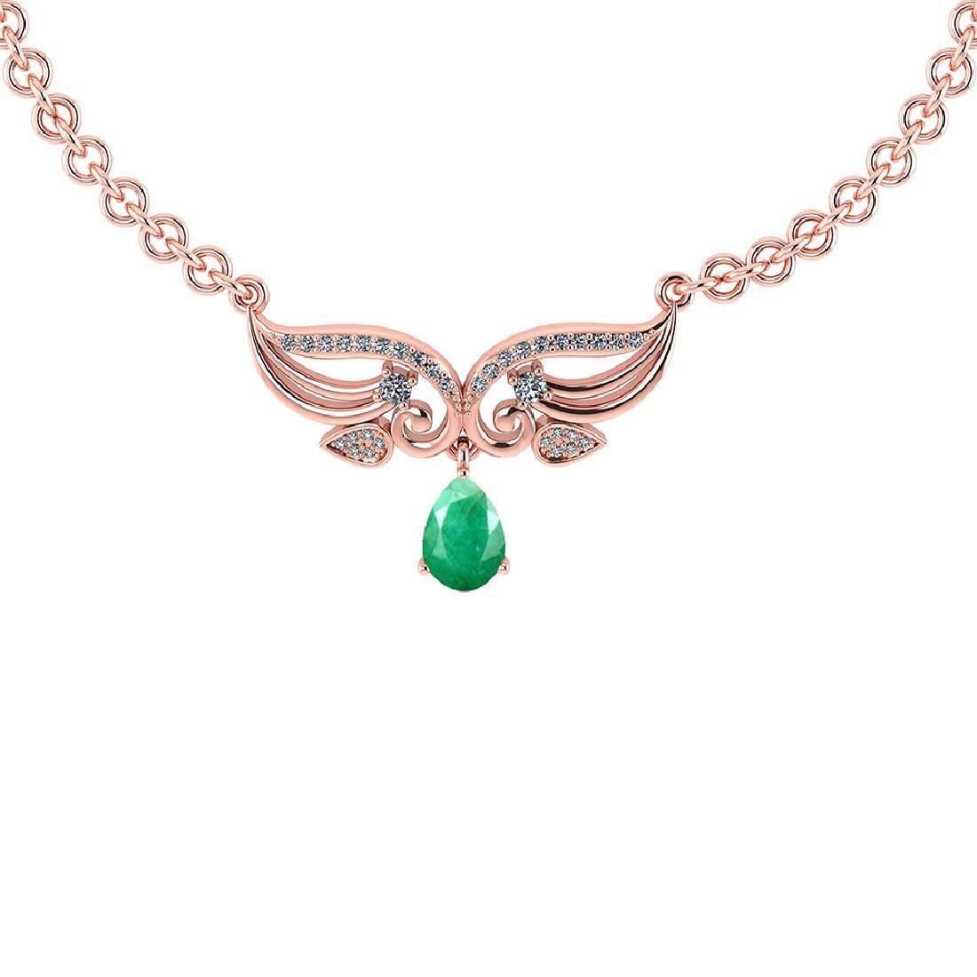 Certified 3.94 CTW Genuine Emerald And Diamond 14k Rose
