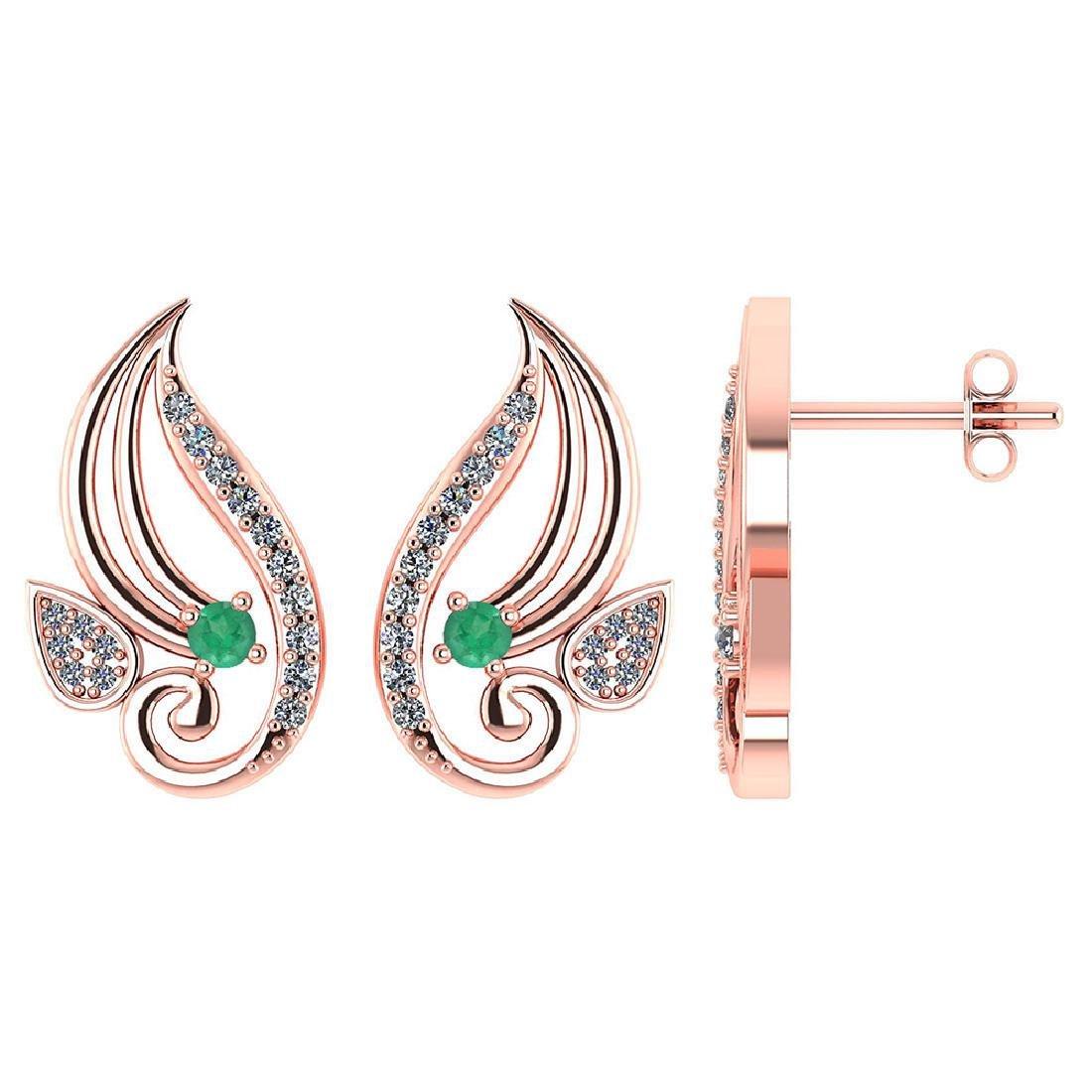 Certified .26 CTW Genuine Emerald And Diamond 14K Rose