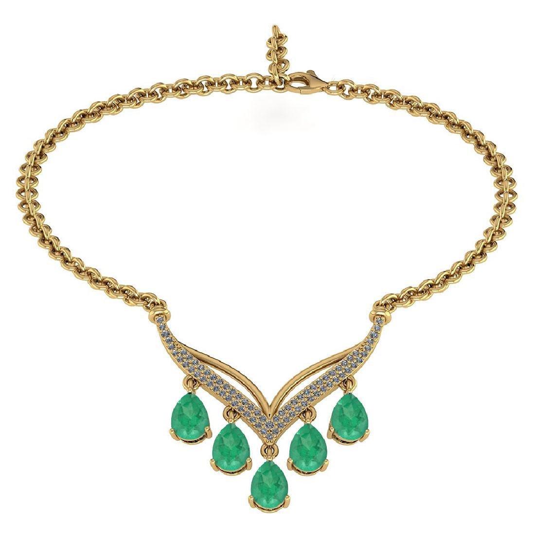 Certified 4.19 CTW Genuine Emerald And Diamond 14k Yell