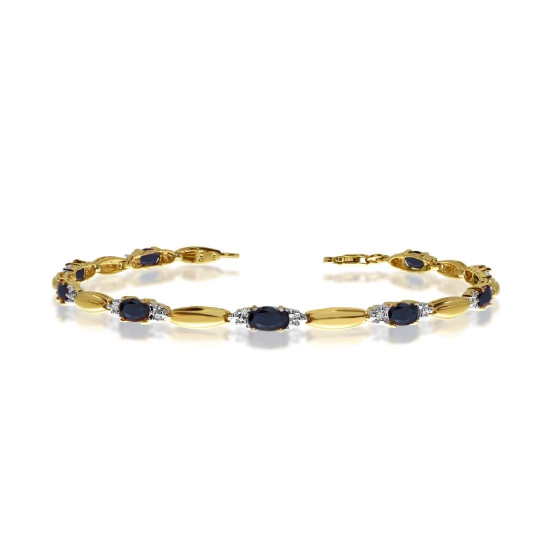 Certified 14K Yellow Gold Oval Sapphire and Diamond Bra