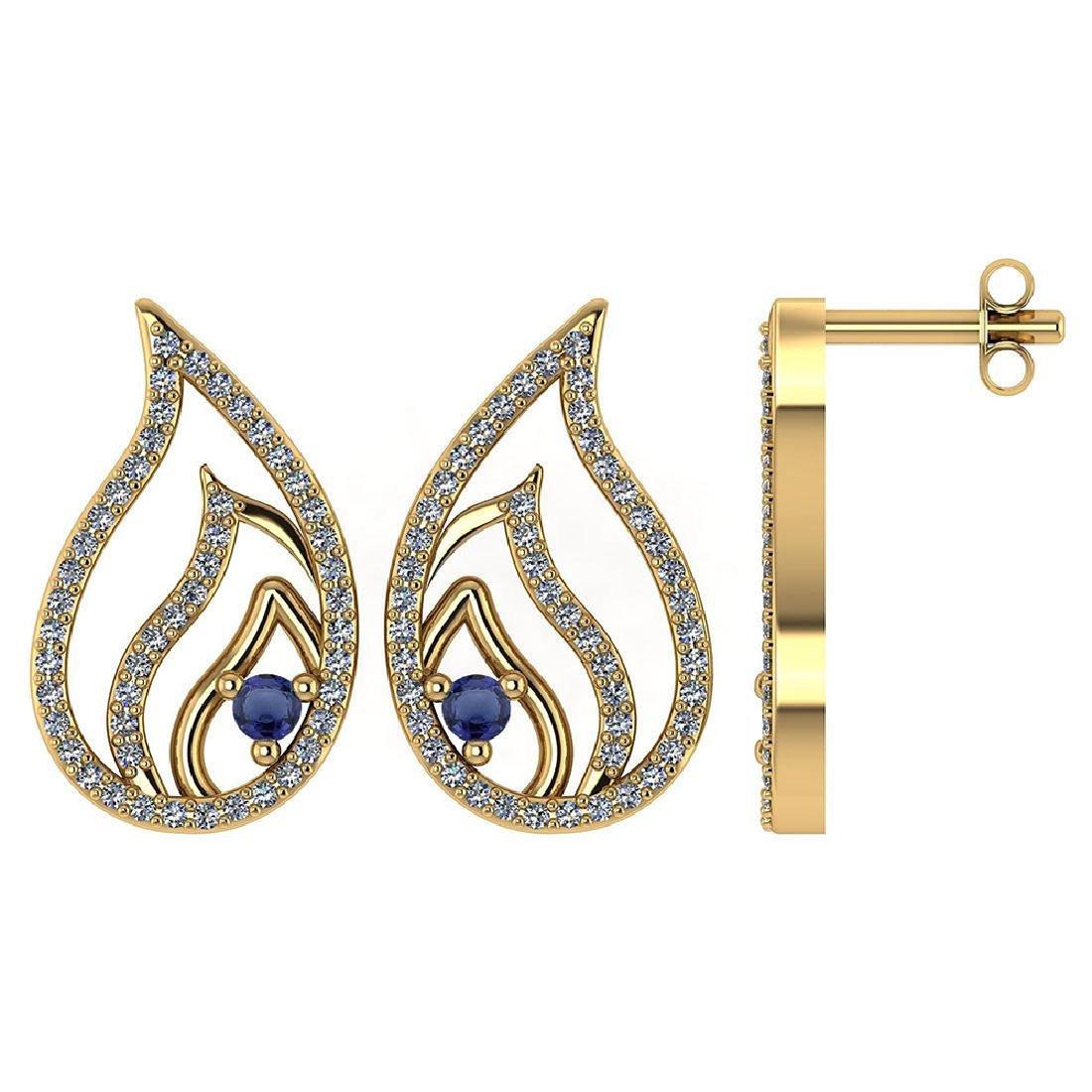 Certified .30 CTW Genuine Blue Sapphire And Diamond 14K