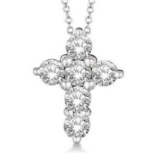 904e6ae3d98a77 Prong Set Round Diamond Cross Pendant Necklace 14k Whit