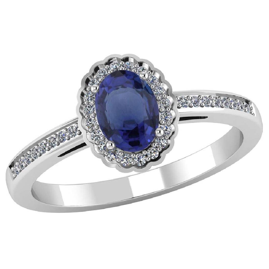 Certified 1.50 CTW Genuine Blue Sapphire And Diamond 14