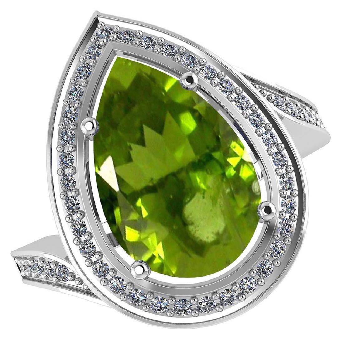 Certified 2.71 CTW Genuine Peridot And Diamond 14KW Gol