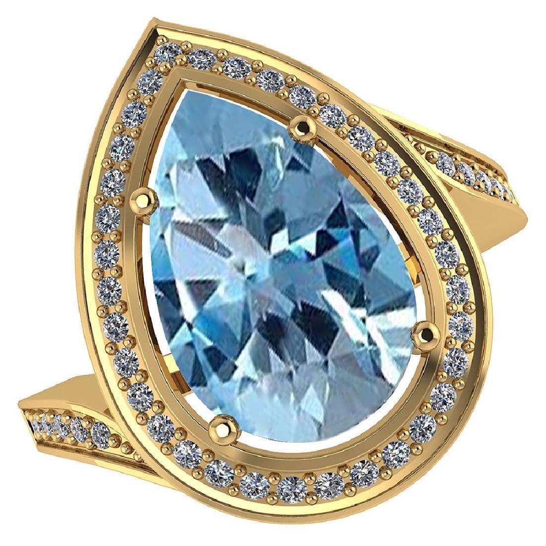 Certified 2.60 CTW Genuine Aquamarine And Diamond 14K Y