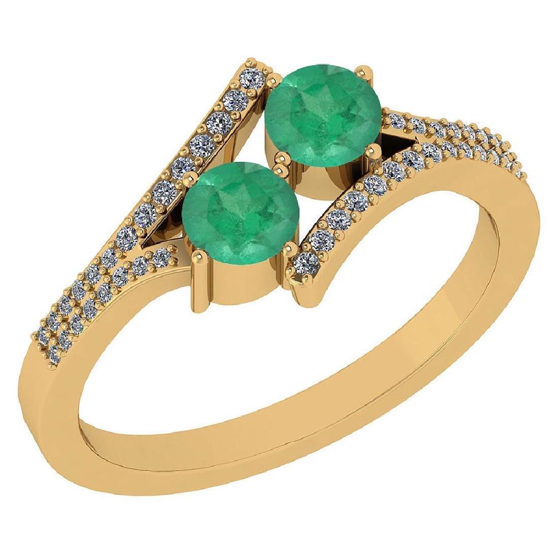Certified 1.06 Ctw Genuine Emerald And Diamond 14k Yell