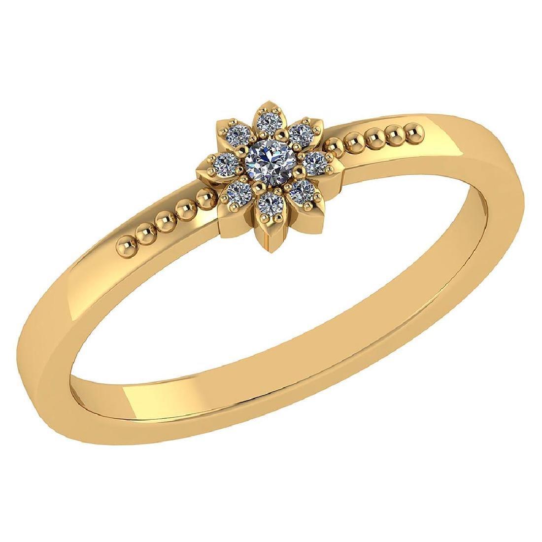 Certified .09 CTW Diamond And 14k Yellow Gold Simple Ri