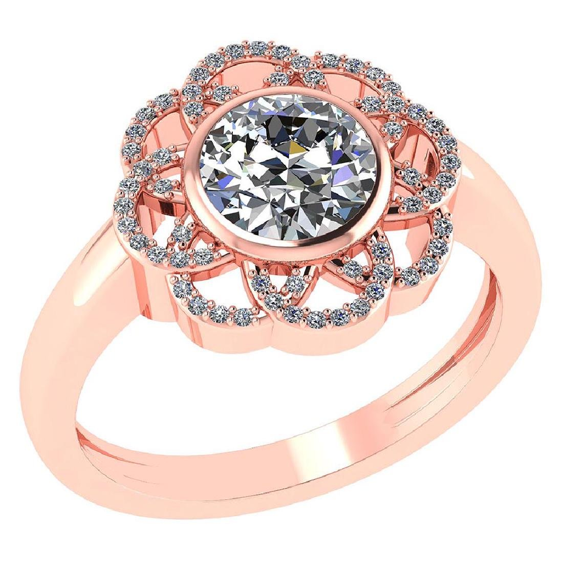 Certified 1.40 Ctw Round Diamond 14k Rose Gold Halo Rin