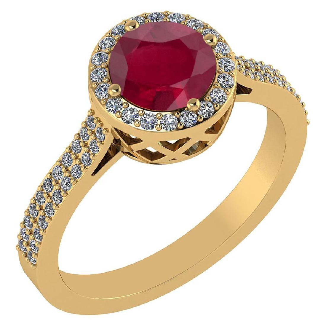 1.77 Ctw Ruby And Diamond 14k Yellow Gold Halo Ring