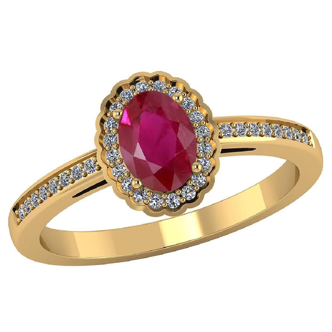 Certified 1.70 CTW Genuine Ruby And Diamond 14K Yellow