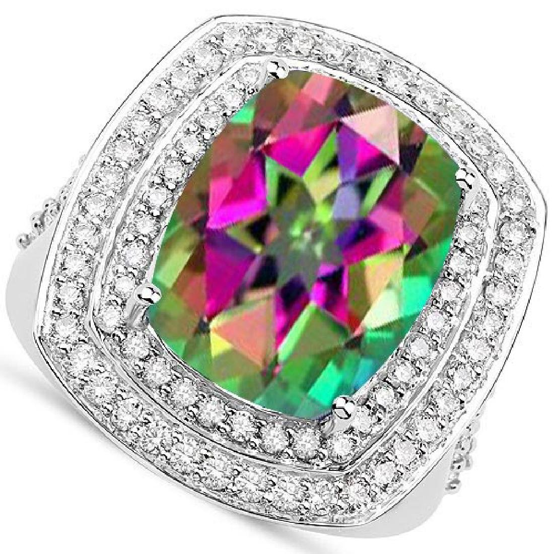 Certified 6.10 CTW Genuine Mystic Topaz And Diamond 14K