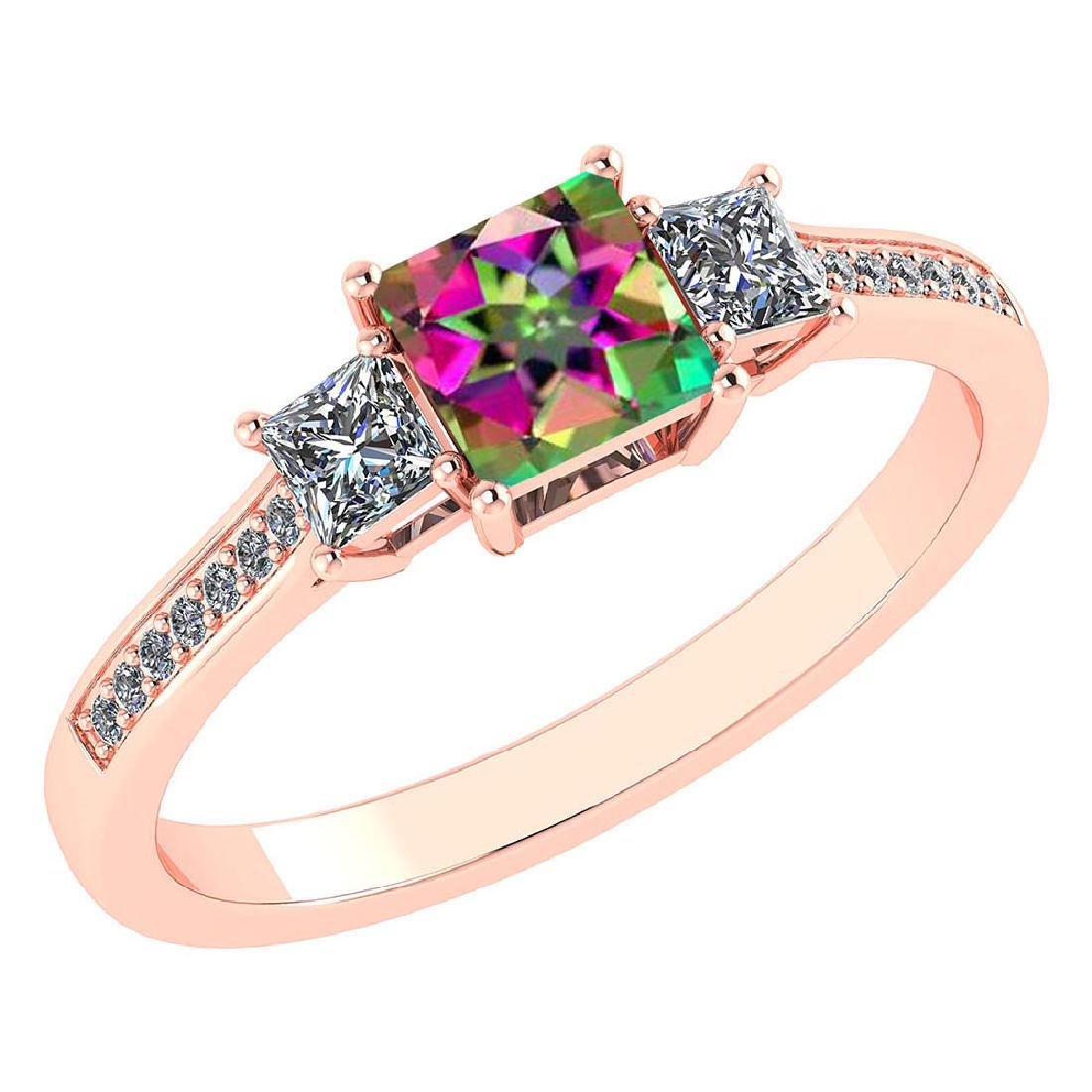 Certified 1.18 CTW Genuine Mystic Topaz And Diamond 14K