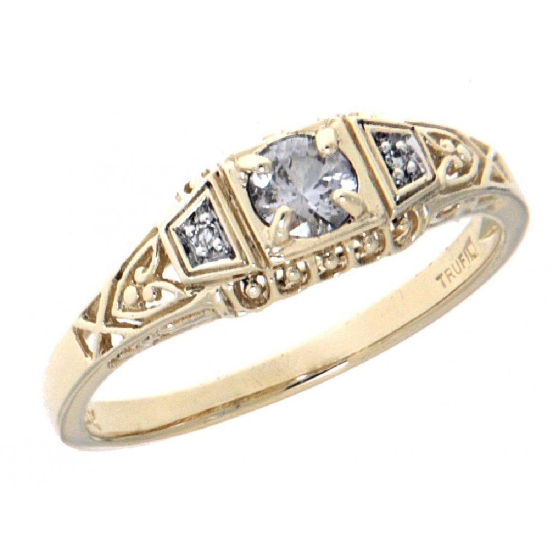 White Sapphire Art Deco Style 14kt Yellow Gold Filigree