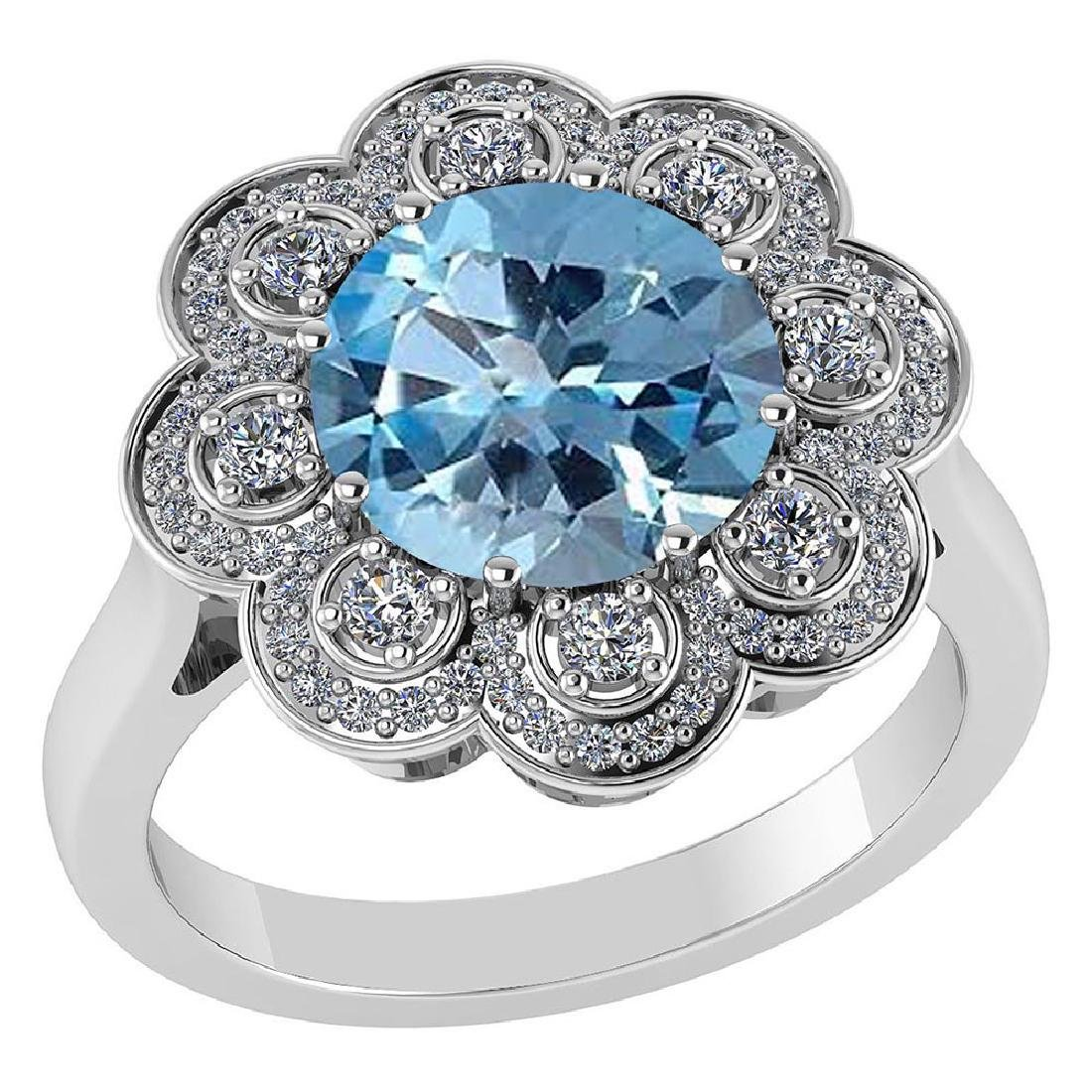 Certified 4.42 CTW Genuine Aquamarine And Diamond 14K W